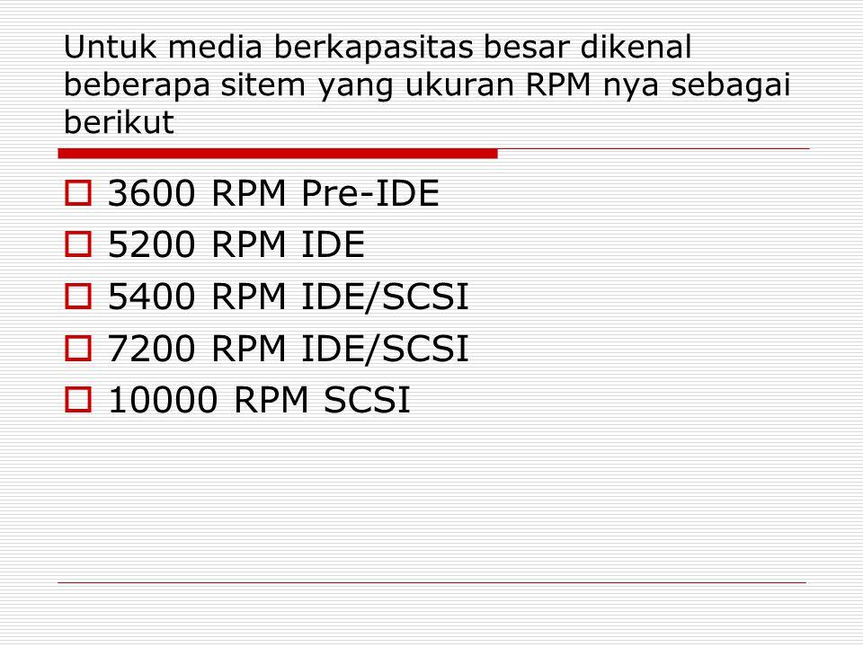 Untuk media berkapasitas besar dikenal beberapa sitem yang ukuran RPM nya sebagai berikut  3600 RPM Pre-IDE  5200 RPM IDE  5400 RPM IDE/SCSI  7200