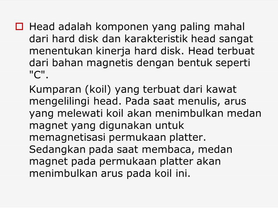  Head adalah komponen yang paling mahal dari hard disk dan karakteristik head sangat menentukan kinerja hard disk. Head terbuat dari bahan magnetis d