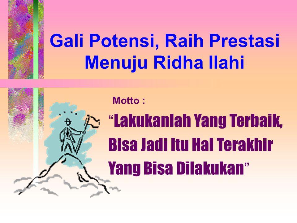 Gali Potensi, Raih Prestasi Menuju Ridha Ilahi Lakukanlah Yang Terbaik, Bisa Jadi Itu Hal Terakhir Yang Bisa Dilakukan Motto :