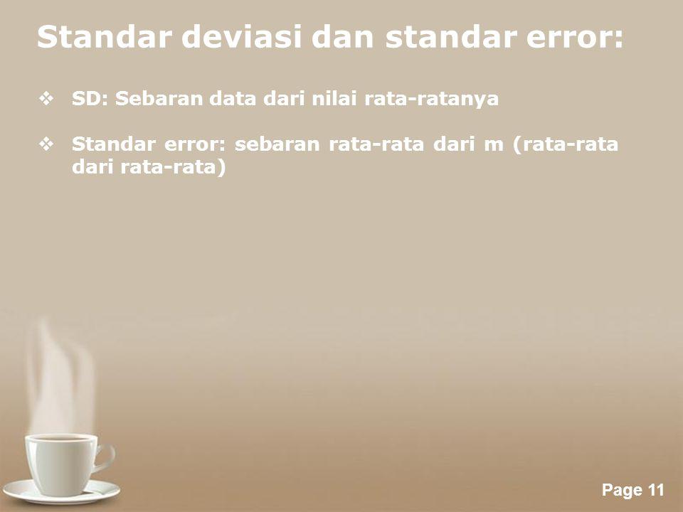 Powerpoint Templates Page 11 Standar deviasi dan standar error:  SD: Sebaran data dari nilai rata-ratanya  Standar error: sebaran rata-rata dari m (rata-rata dari rata-rata)
