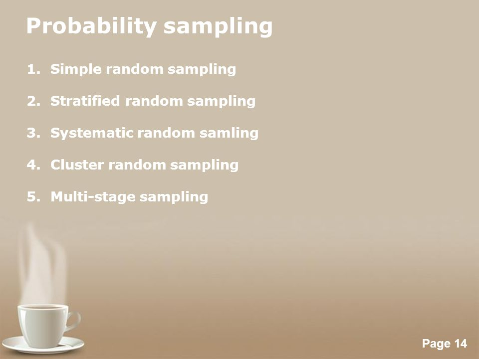 Powerpoint Templates Page 14 Probability sampling 1.Simple random sampling 2.Stratified random sampling 3.Systematic random samling 4.Cluster random s