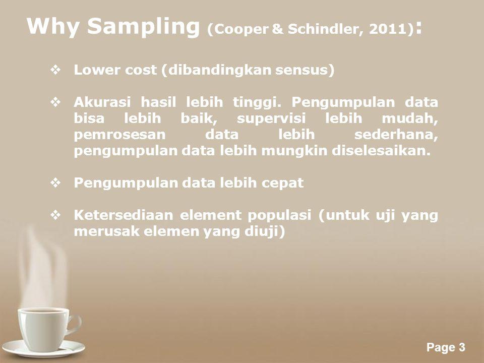 Powerpoint Templates Page 3 Why Sampling (Cooper & Schindler, 2011) :  Lower cost (dibandingkan sensus)  Akurasi hasil lebih tinggi.