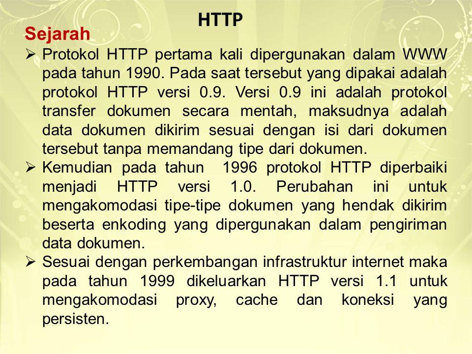 Sejarah  Protokol HTTP pertama kali dipergunakan dalam WWW pada tahun 1990. Pada saat tersebut yang dipakai adalah protokol HTTP versi 0.9. Versi 0.9