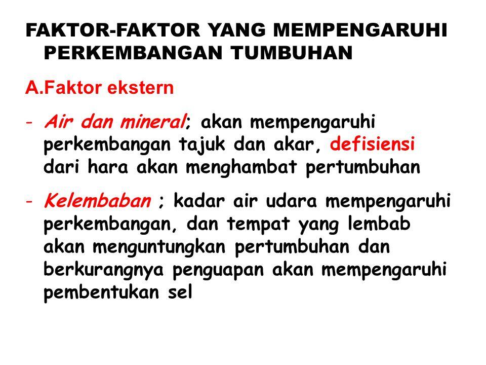 FAKTOR-FAKTOR YANG MEMPENGARUHI PERKEMBANGAN TUMBUHAN A.Faktor ekstern -Air dan mineral; akan mempengaruhi perkembangan tajuk dan akar, defisiensi dar