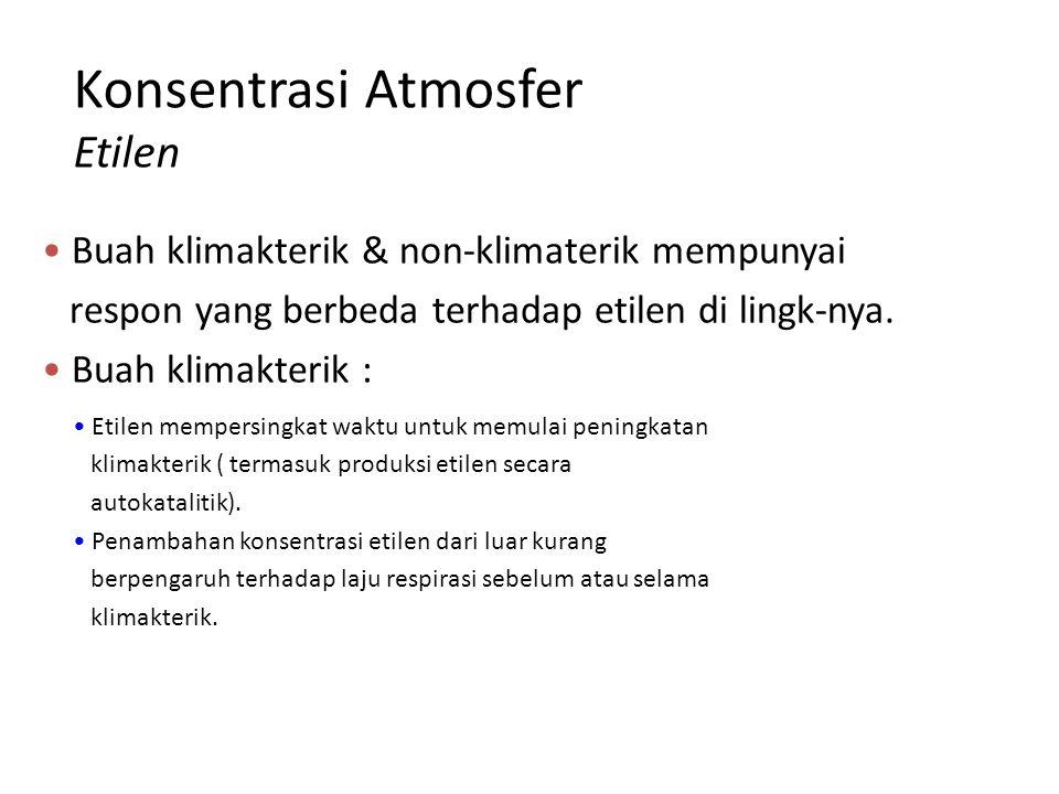 Konsentrasi Atmosfer Etilen Buah klimakterik & non-klimaterik mempunyai respon yang berbeda terhadap etilen di lingk-nya. Buah klimakterik : Etilen me
