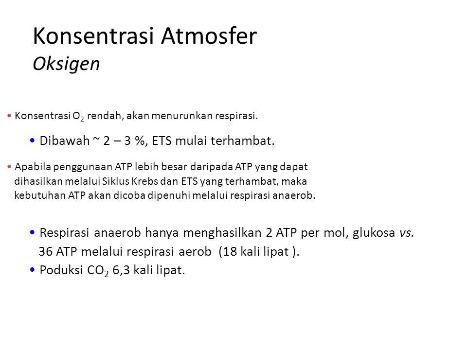 Konsentrasi Atmosfer Oksigen Konsentrasi O 2 rendah, akan menurunkan respirasi. Dibawah ~ 2 – 3 %, ETS mulai terhambat. Apabila penggunaan ATP lebih b