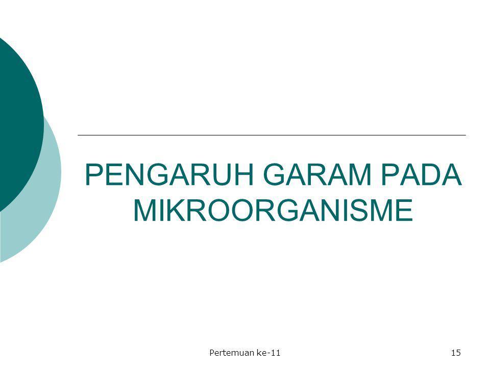 PENGARUH GARAM PADA MIKROORGANISME Pertemuan ke-1115