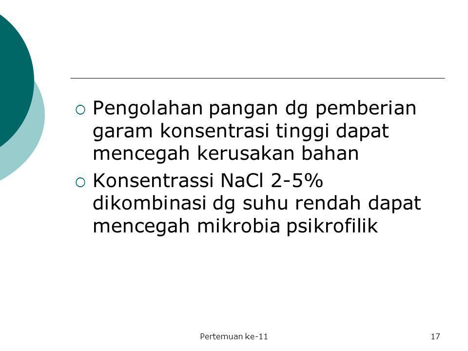  Pengolahan pangan dg pemberian garam konsentrasi tinggi dapat mencegah kerusakan bahan  Konsentrassi NaCl 2-5% dikombinasi dg suhu rendah dapat men