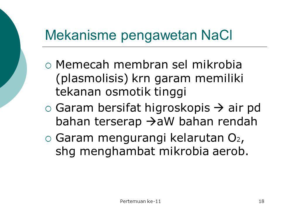 Mekanisme pengawetan NaCl  Memecah membran sel mikrobia (plasmolisis) krn garam memiliki tekanan osmotik tinggi  Garam bersifat higroskopis  air pd