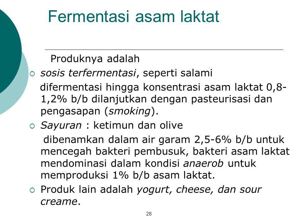28 Fermentasi asam laktat Produknya adalah  sosis terfermentasi, seperti salami difermentasi hingga konsentrasi asam laktat 0,8- 1,2% b/b dilanjutkan