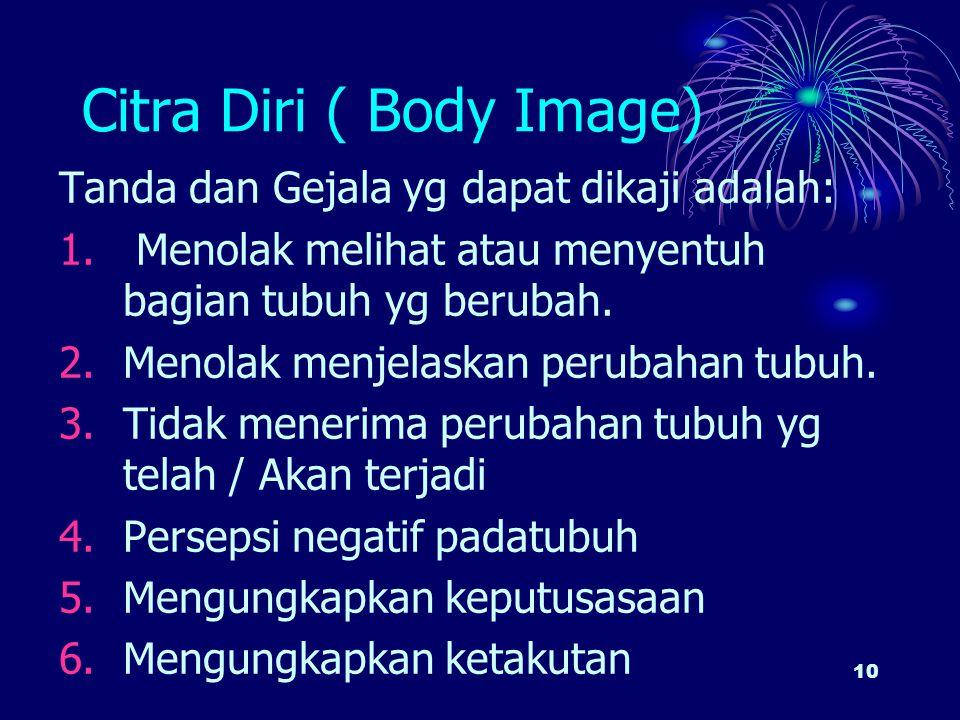 10 Citra Diri ( Body Image) Tanda dan Gejala yg dapat dikaji adalah: 1. Menolak melihat atau menyentuh bagian tubuh yg berubah. 2.Menolak menjelaskan