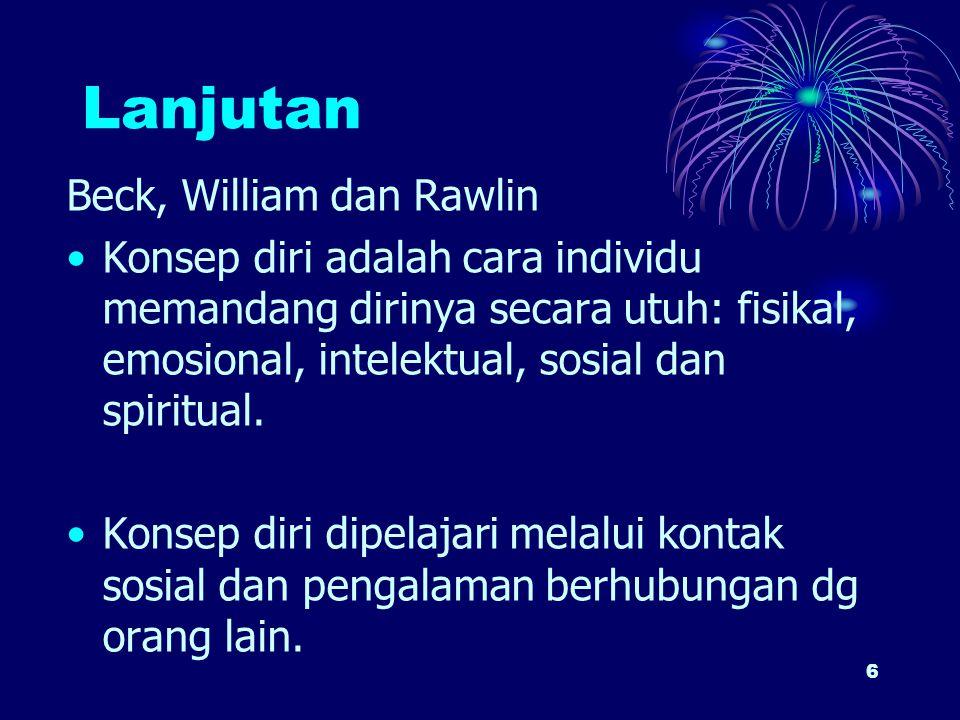 6 Lanjutan Beck, William dan Rawlin Konsep diri adalah cara individu memandang dirinya secara utuh: fisikal, emosional, intelektual, sosial dan spirit