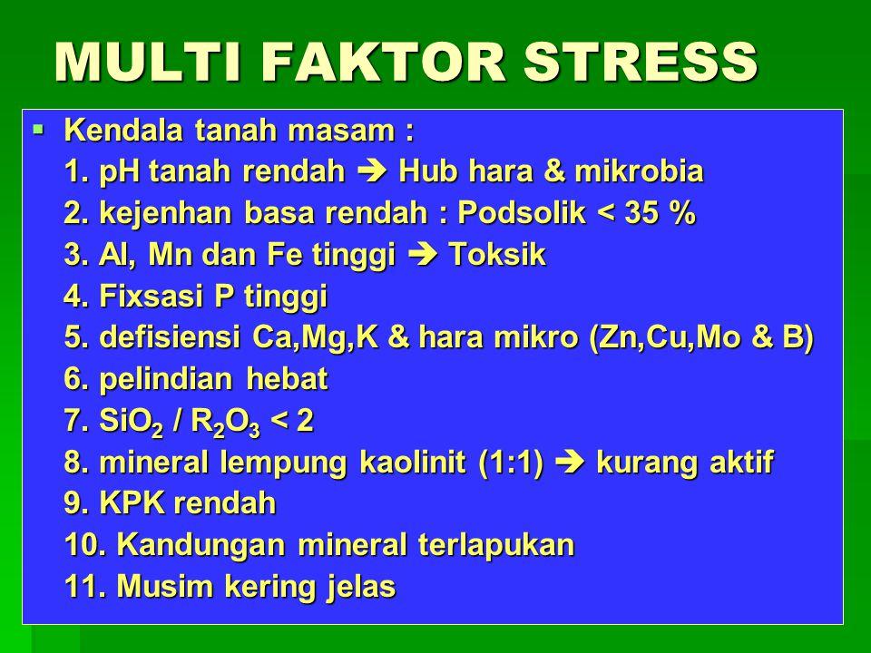 MULTI FAKTOR STRESS  Kendala tanah masam : 1. pH tanah rendah  Hub hara & mikrobia 2. kejenhan basa rendah : Podsolik < 35 % 3. Al, Mn dan Fe tinggi