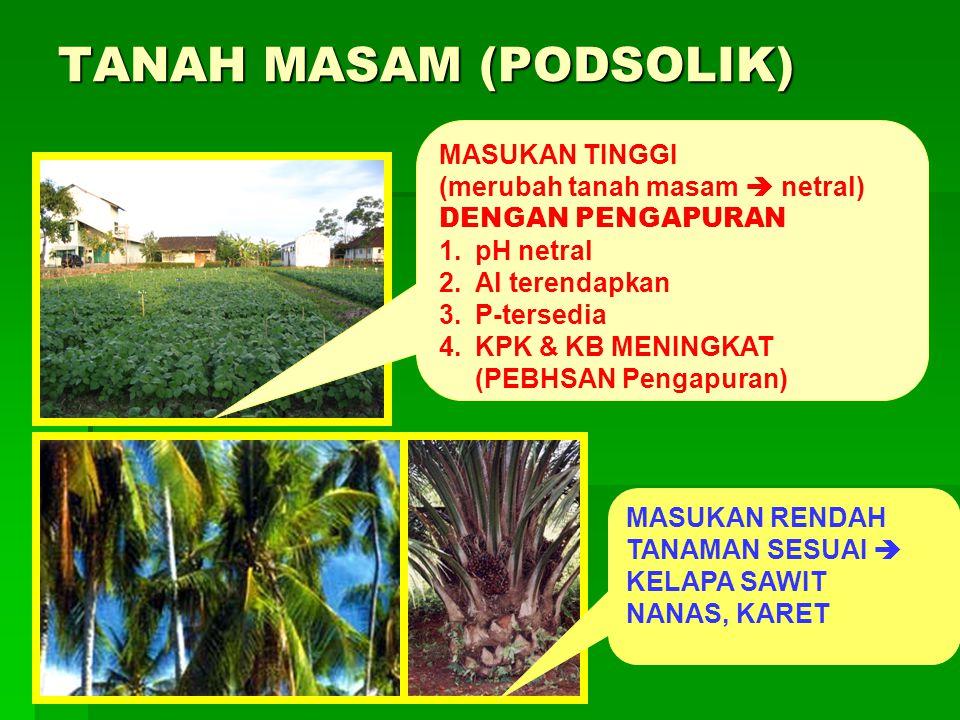 TANAH MASAM (PODSOLIK) MASUKAN TINGGI (merubah tanah masam  netral) DENGAN PENGAPURAN 1.pH netral 2.Al terendapkan 3.P-tersedia 4.KPK & KB MENINGKAT