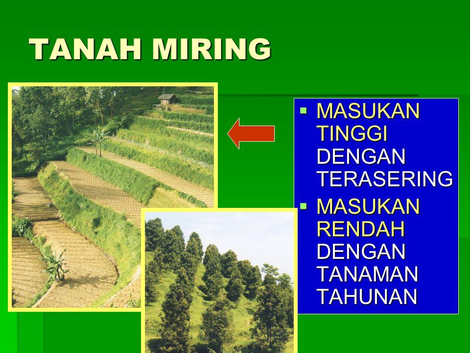 TANAH MIRING  MASUKAN TINGGI DENGAN TERASERING  MASUKAN RENDAH DENGAN TANAMAN TAHUNAN