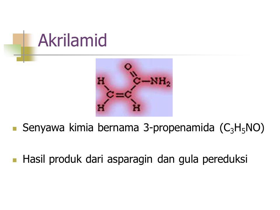 Akrilamid Senyawa kimia bernama 3-propenamida (C 3 H 5 NO) Hasil produk dari asparagin dan gula pereduksi