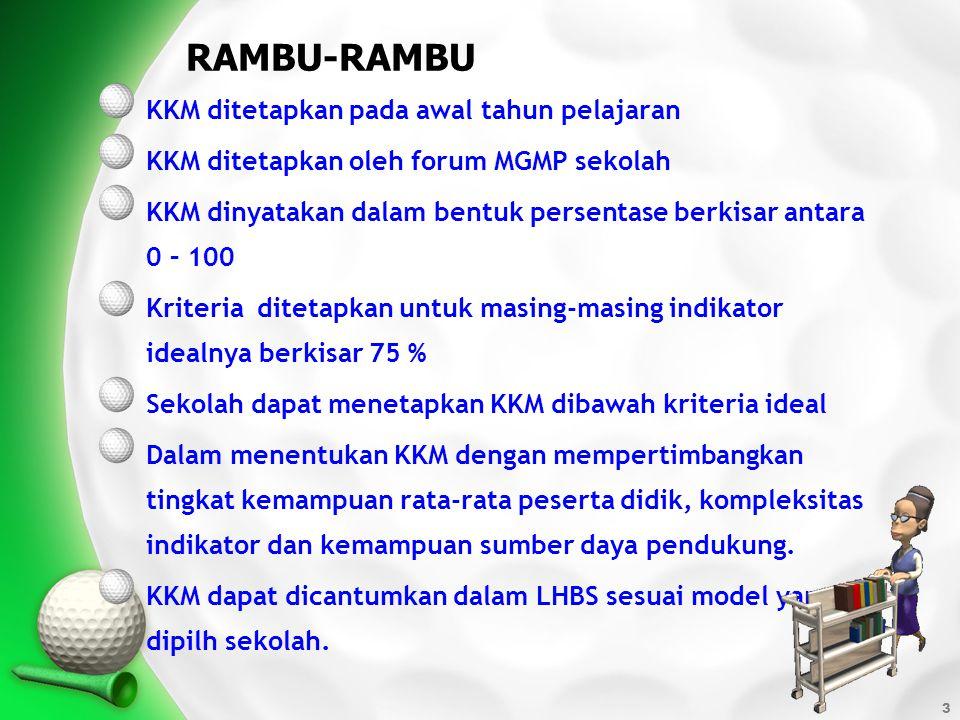3 KKM ditetapkan pada awal tahun pelajaran KKM ditetapkan oleh forum MGMP sekolah KKM dinyatakan dalam bentuk persentase berkisar antara 0 – 100 Krite