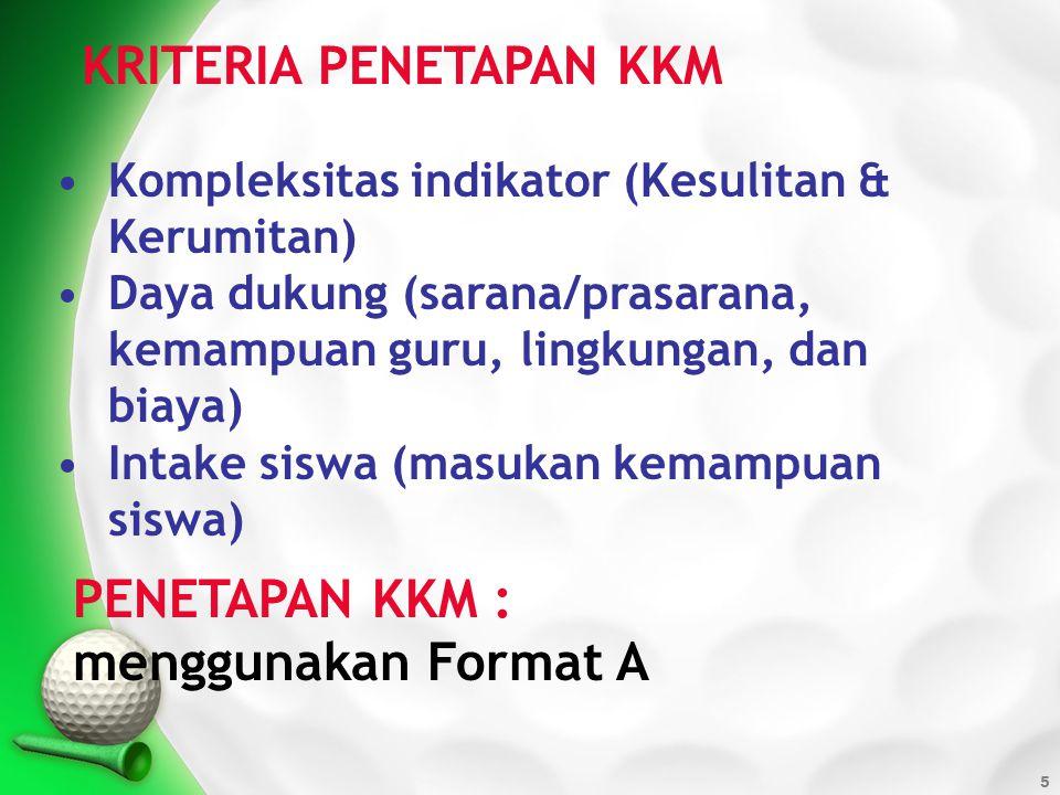 6 Kompetensi dasar dan Indikator Kriteria Ketuntasan Minimal Kriteria Penetapan Ketuntasan KKM (%) KompleksitasDaya dukungIntake 1.