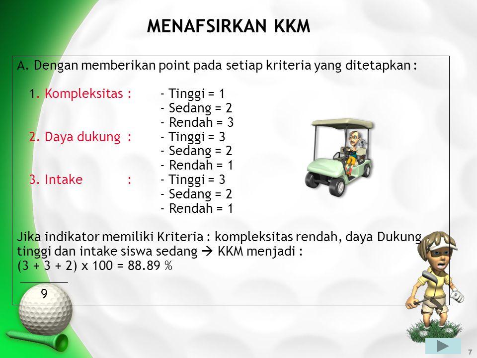 7 MENAFSIRKAN KKM A. Dengan memberikan point pada setiap kriteria yang ditetapkan : 1. Kompleksitas:- Tinggi = 1 - Sedang = 2 - Rendah = 3 2. Daya duk