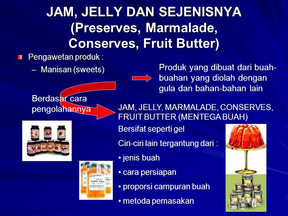 JAM, JELLY DAN SEJENISNYA (Preserves, Marmalade, Conserves, Fruit Butter) Pengawetan produk : –Manisan (sweets) Produk yang dibuat dari buah- buahan y