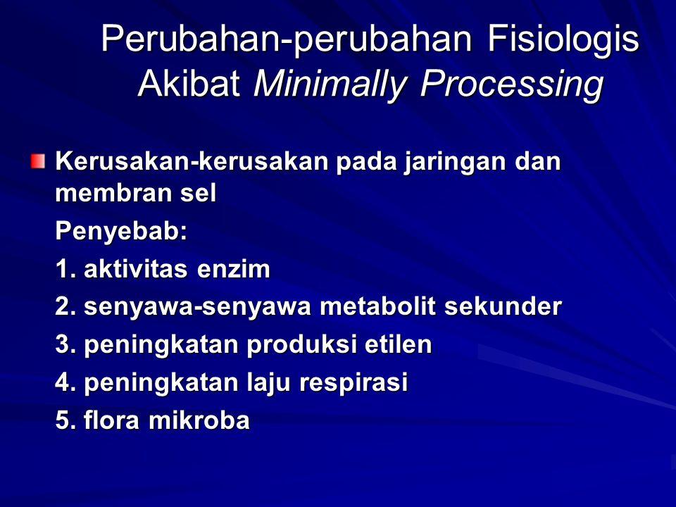 Perubahan-perubahan Fisiologis Akibat Minimally Processing Kerusakan-kerusakan pada jaringan dan membran sel Penyebab: 1. aktivitas enzim 2. senyawa-s