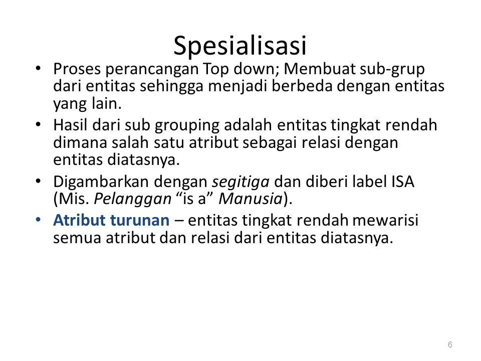 Spesialisasi Proses perancangan Top down; Membuat sub-grup dari entitas sehingga menjadi berbeda dengan entitas yang lain. Hasil dari sub grouping ada
