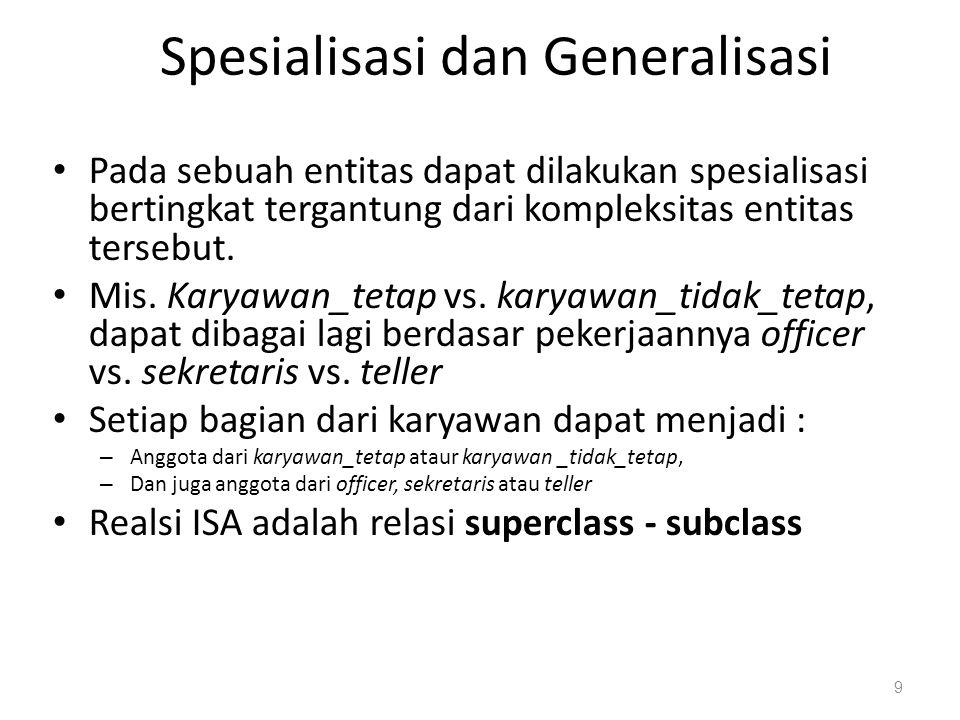 Batasan perancangan dalam Spesialisasi/Generalisasi Batasan sebuah entitas dapat menjadi anggota suatu entitas lain yang lebih tinggi.