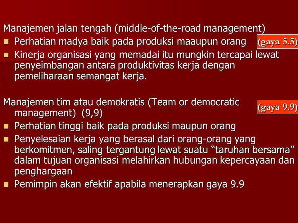 Manajemen jalan tengah (middle-of-the-road management) Perhatian madya baik pada produksi maaupun orang Perhatian madya baik pada produksi maaupun ora
