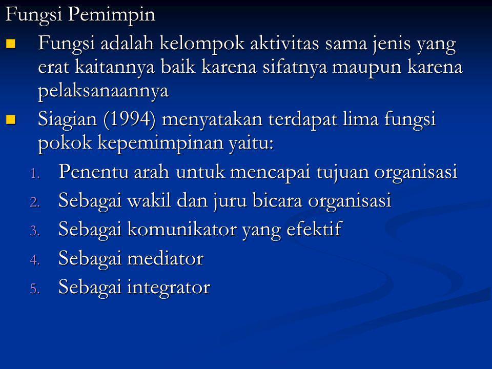 Fungsi Pemimpin Fungsi adalah kelompok aktivitas sama jenis yang erat kaitannya baik karena sifatnya maupun karena pelaksanaannya Fungsi adalah kelompok aktivitas sama jenis yang erat kaitannya baik karena sifatnya maupun karena pelaksanaannya Siagian (1994) menyatakan terdapat lima fungsi pokok kepemimpinan yaitu: Siagian (1994) menyatakan terdapat lima fungsi pokok kepemimpinan yaitu: 1.