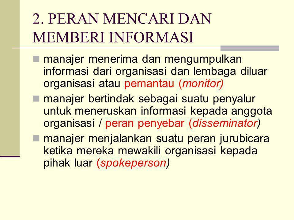 2. PERAN MENCARI DAN MEMBERI INFORMASI manajer menerima dan mengumpulkan informasi dari organisasi dan lembaga diluar organisasi atau pemantau (monito