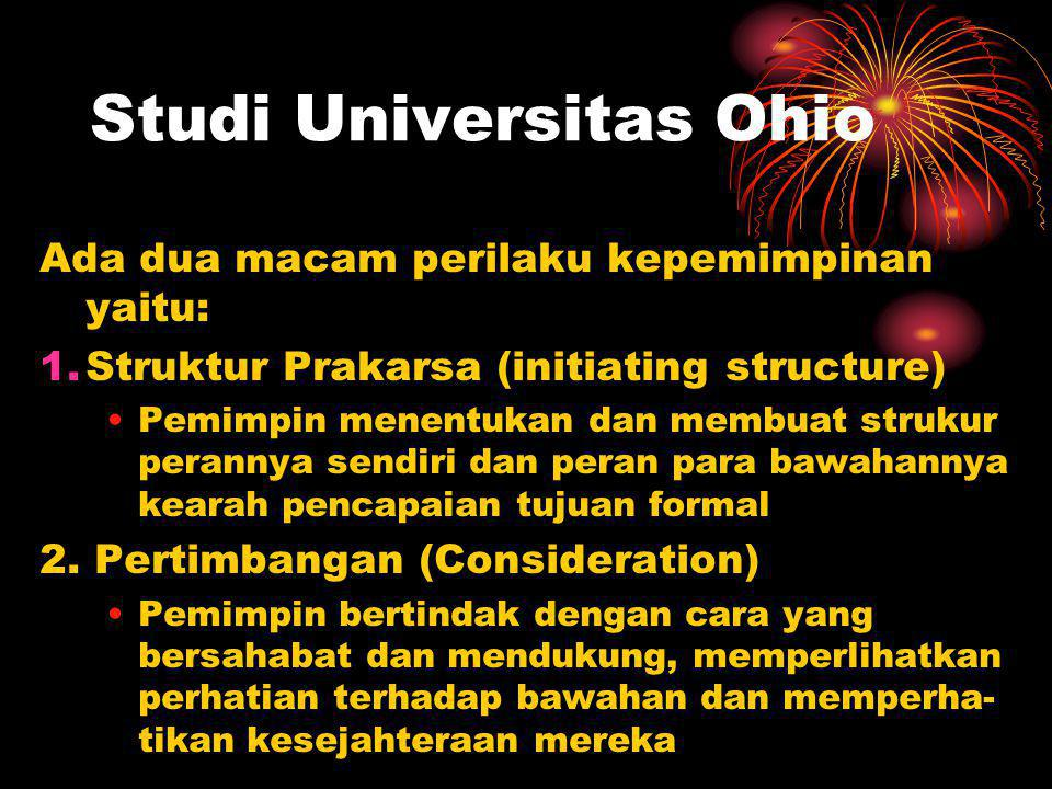 Studi Universitas Ohio Ada dua macam perilaku kepemimpinan yaitu: 1.Struktur Prakarsa (initiating structure) Pemimpin menentukan dan membuat strukur perannya sendiri dan peran para bawahannya kearah pencapaian tujuan formal 2.