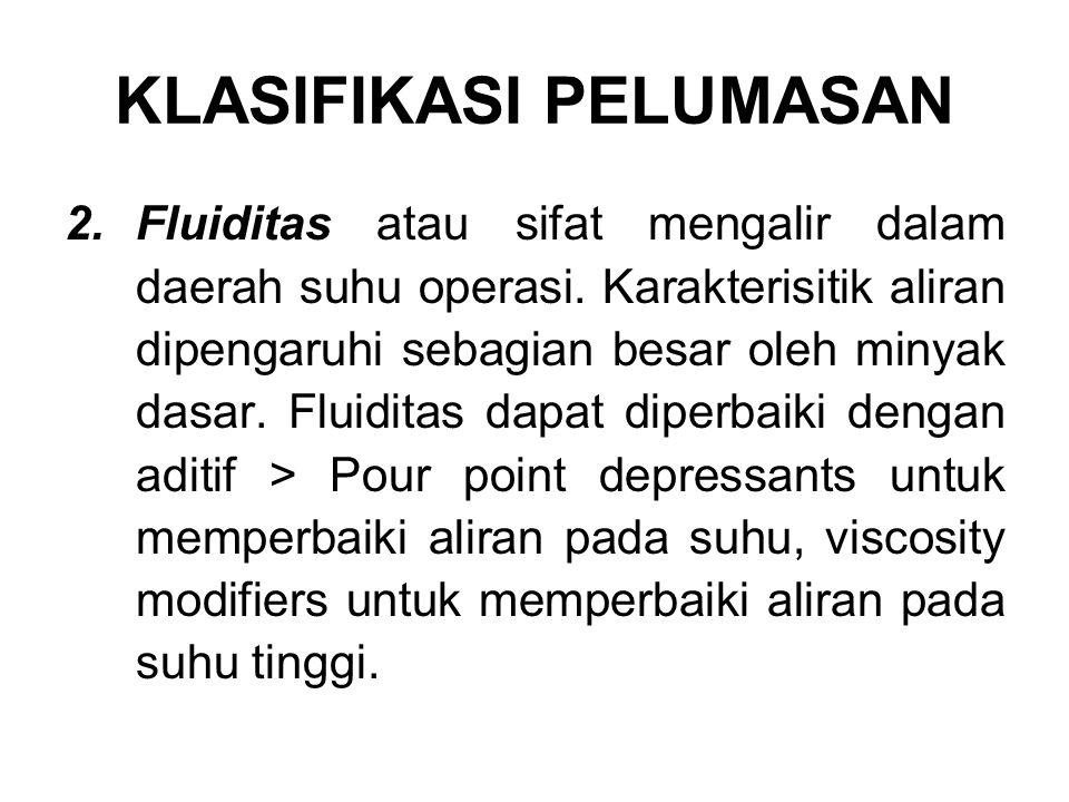 2.Fluiditas atau sifat mengalir dalam daerah suhu operasi.