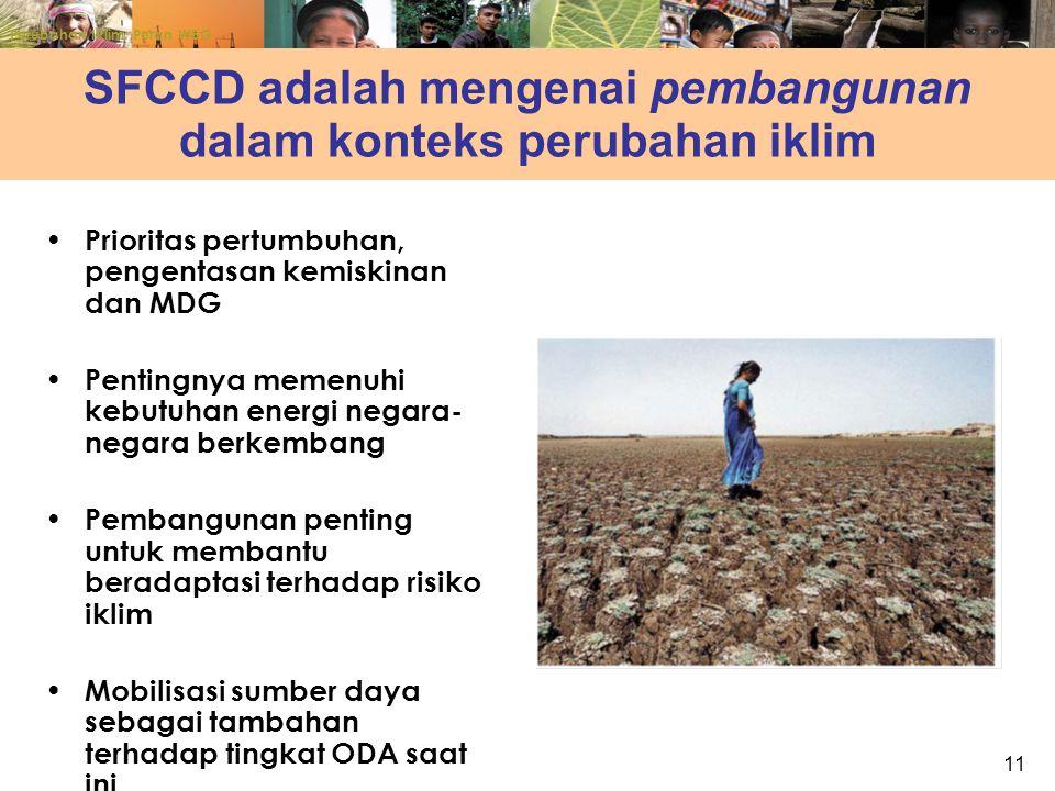11 SFCCD adalah mengenai pembangunan dalam konteks perubahan iklim Prioritas pertumbuhan, pengentasan kemiskinan dan MDG Pentingnya memenuhi kebutuhan energi negara- negara berkembang Pembangunan penting untuk membantu beradaptasi terhadap risiko iklim Mobilisasi sumber daya sebagai tambahan terhadap tingkat ODA saat ini Perubahan Iklim: Peran WBG
