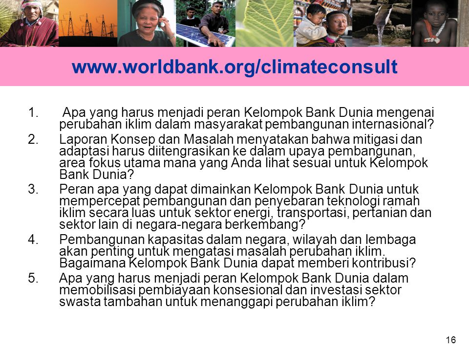 16 www.worldbank.org/climateconsult 1.