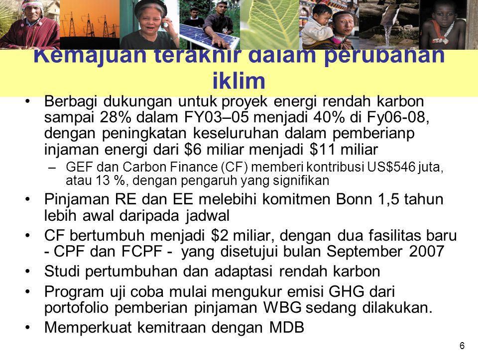 6 Kemajuan terakhir dalam perubahan iklim Berbagi dukungan untuk proyek energi rendah karbon sampai 28% dalam FY03–05 menjadi 40% di Fy06-08, dengan p