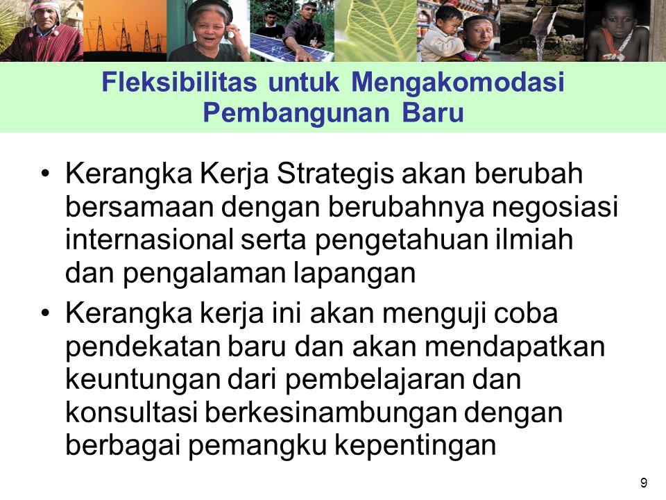 9 Fleksibilitas untuk Mengakomodasi Pembangunan Baru Kerangka Kerja Strategis akan berubah bersamaan dengan berubahnya negosiasi internasional serta pengetahuan ilmiah dan pengalaman lapangan Kerangka kerja ini akan menguji coba pendekatan baru dan akan mendapatkan keuntungan dari pembelajaran dan konsultasi berkesinambungan dengan berbagai pemangku kepentingan
