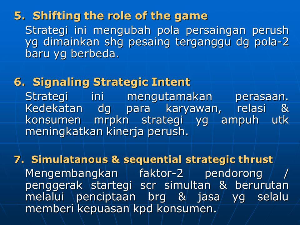 5. Shifting the role of the game Strategi ini mengubah pola persaingan perush yg dimainkan shg pesaing terganggu dg pola-2 baru yg berbeda. 6. Signali