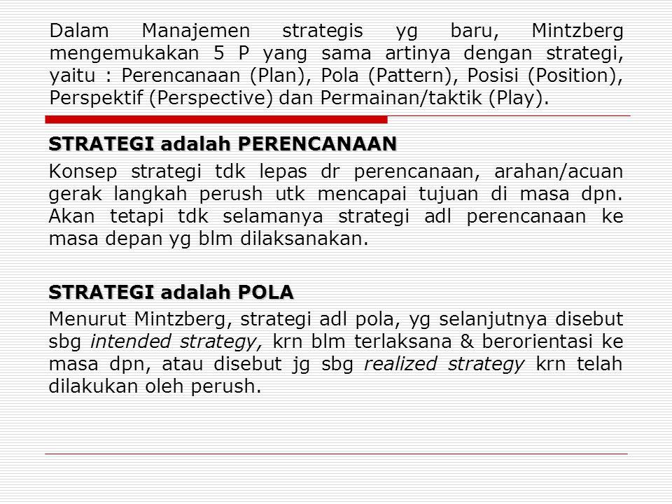Dalam Manajemen strategis yg baru, Mintzberg mengemukakan 5 P yang sama artinya dengan strategi, yaitu : Perencanaan (Plan), Pola (Pattern), Posisi (Position), Perspektif (Perspective) dan Permainan/taktik (Play).