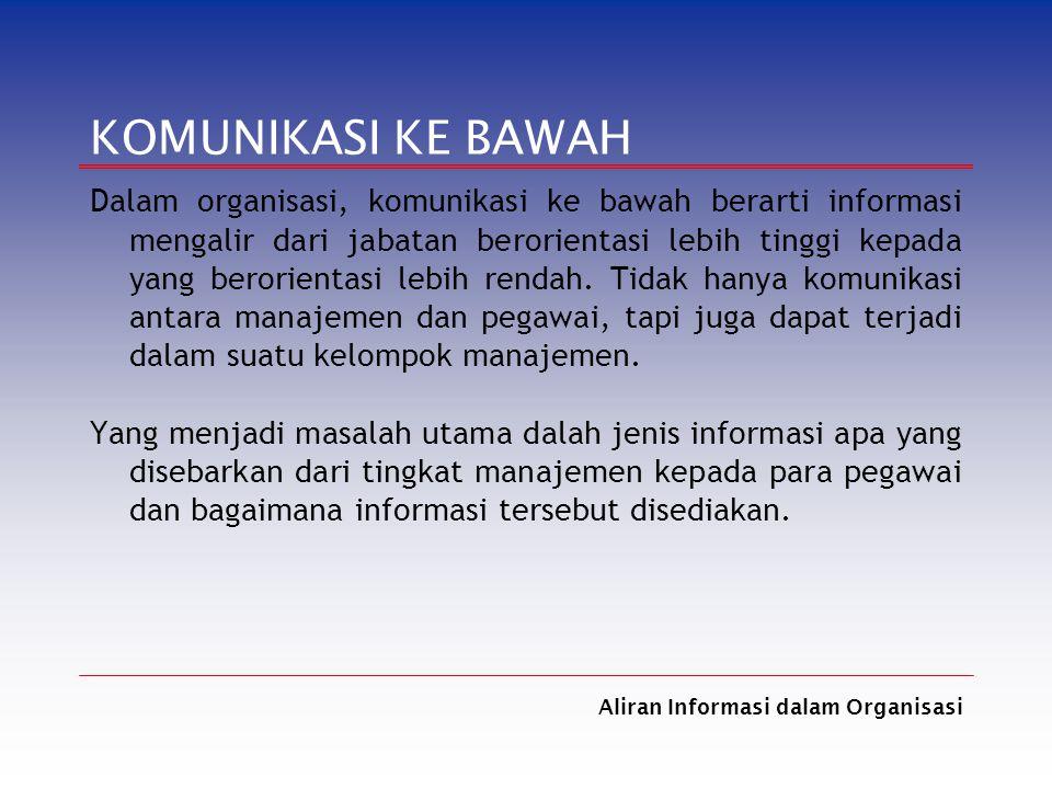 Aliran Informasi dalam Organisasi KOMUNIKASI KE BAWAH Dalam organisasi, komunikasi ke bawah berarti informasi mengalir dari jabatan berorientasi lebih
