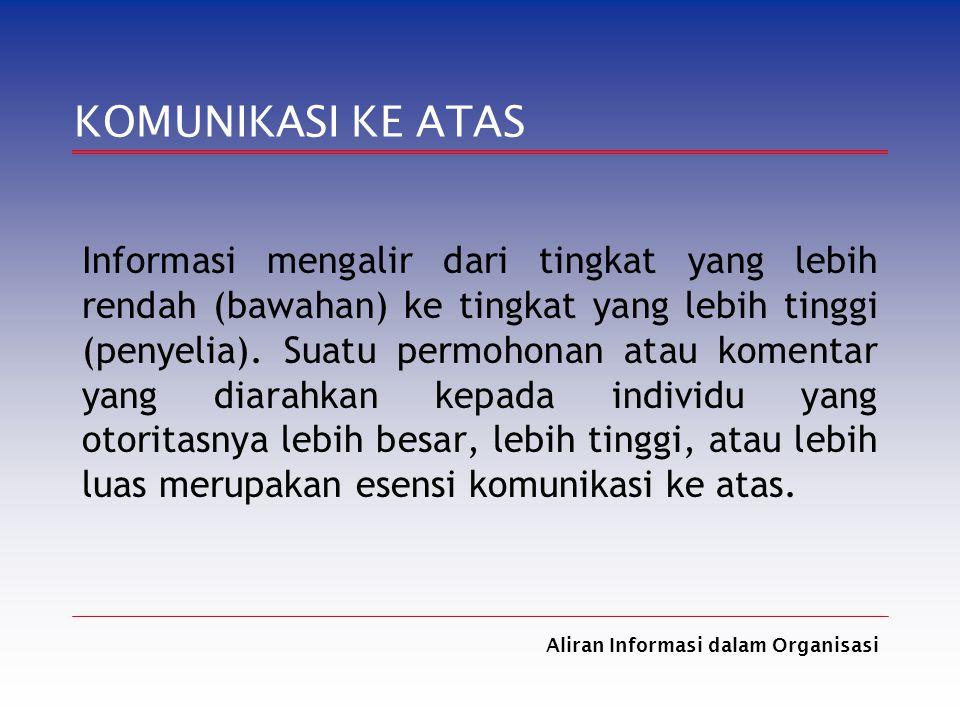 Aliran Informasi dalam Organisasi KOMUNIKASI KE ATAS Informasi mengalir dari tingkat yang lebih rendah (bawahan) ke tingkat yang lebih tinggi (penyeli