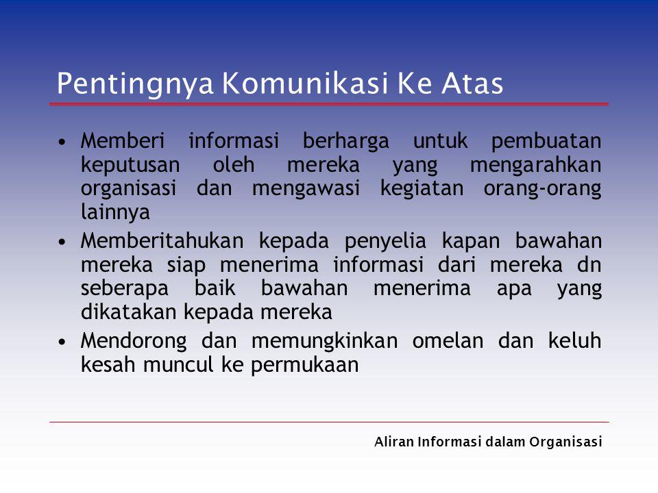 Aliran Informasi dalam Organisasi Pentingnya Komunikasi Ke Atas Memberi informasi berharga untuk pembuatan keputusan oleh mereka yang mengarahkan orga