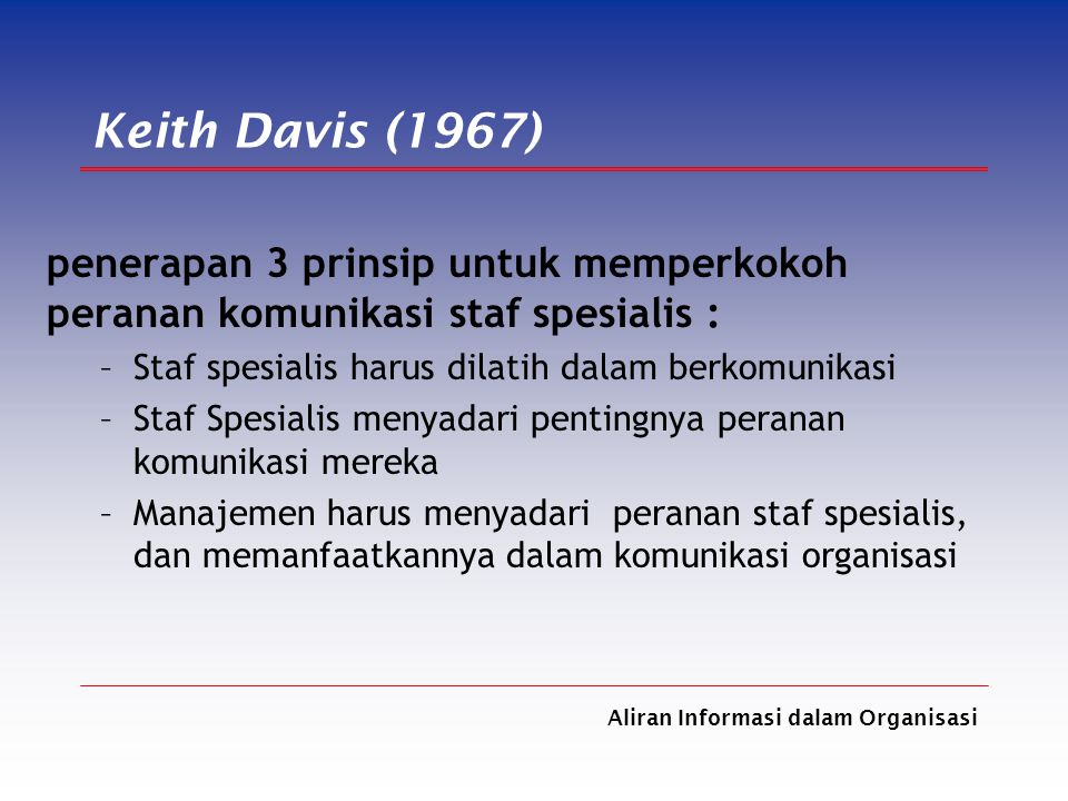 Aliran Informasi dalam Organisasi Keith Davis (1967) penerapan 3 prinsip untuk memperkokoh peranan komunikasi staf spesialis : –Staf spesialis harus d