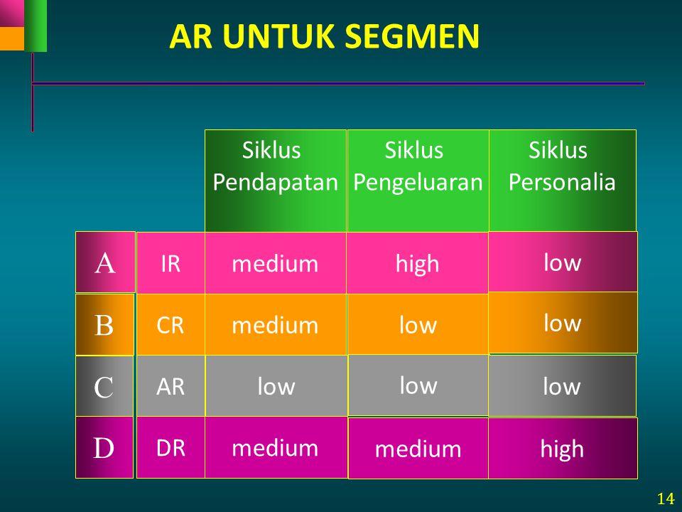 14 Siklus Pendapatan Siklus Pengeluaran Siklus Personalia IR CR AR DR A B C D mediumhigh low mediumlow medium high AR UNTUK SEGMEN