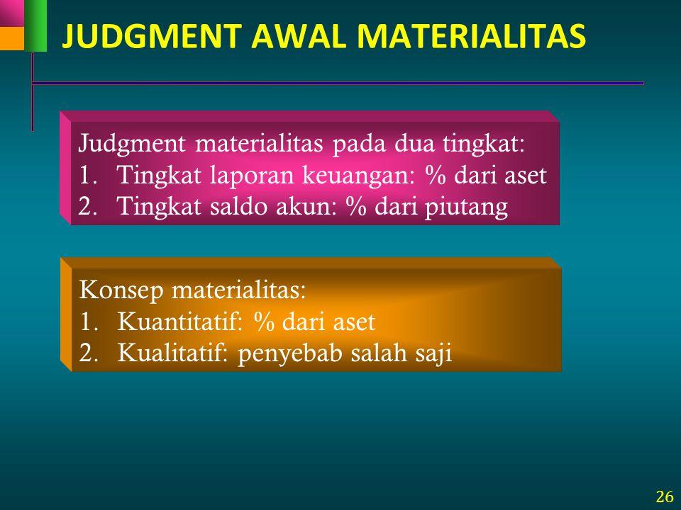 26 Judgment materialitas pada dua tingkat: 1.Tingkat laporan keuangan: % dari aset 2.Tingkat saldo akun: % dari piutang Konsep materialitas: 1.Kuantit