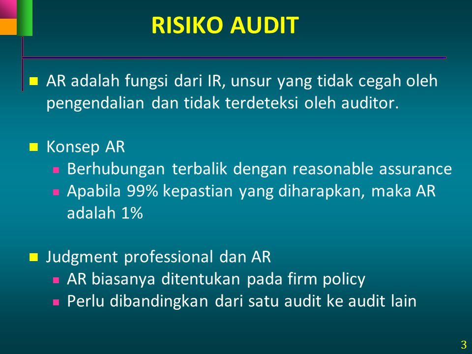 3 RISIKO AUDIT AR adalah fungsi dari IR, unsur yang tidak cegah oleh pengendalian dan tidak terdeteksi oleh auditor. Konsep AR Berhubungan terbalik de