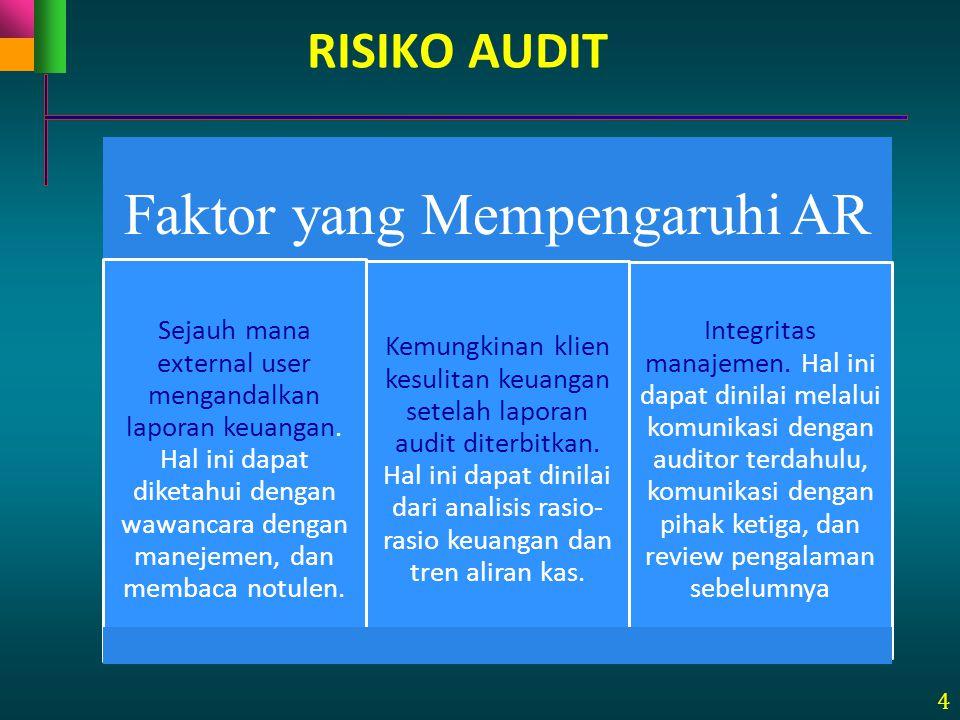 4 Faktor yang Mempengaruhi AR Sejauh mana external user mengandalkan laporan keuangan. Hal ini dapat diketahui dengan wawancara dengan manejemen, dan