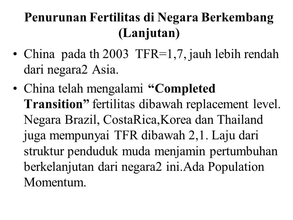 """Penurunan Fertilitas di Negara Berkembang (Lanjutan) China pada th 2003 TFR=1,7, jauh lebih rendah dari negara2 Asia. China telah mengalami """"Completed"""