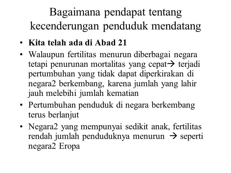 Bagaimana pendapat tentang kecenderungan penduduk mendatang Kita telah ada di Abad 21 Walaupun fertilitas menurun diberbagai negara tetapi penurunan m