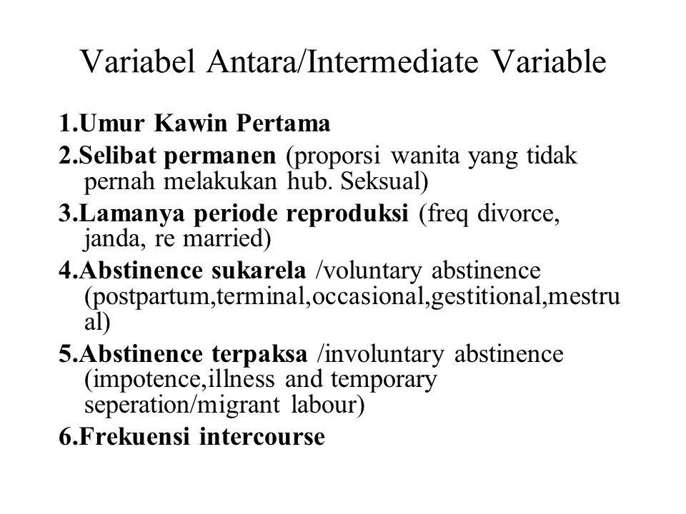 Variabel Antara/Intermediate Variable 1.Umur Kawin Pertama 2.Selibat permanen (proporsi wanita yang tidak pernah melakukan hub. Seksual) 3.Lamanya per