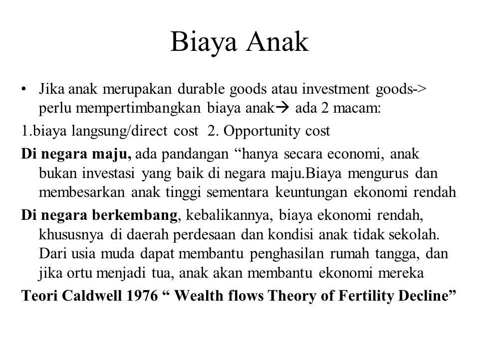 Biaya Anak Jika anak merupakan durable goods atau investment goods-> perlu mempertimbangkan biaya anak  ada 2 macam: 1.biaya langsung/direct cost 2.